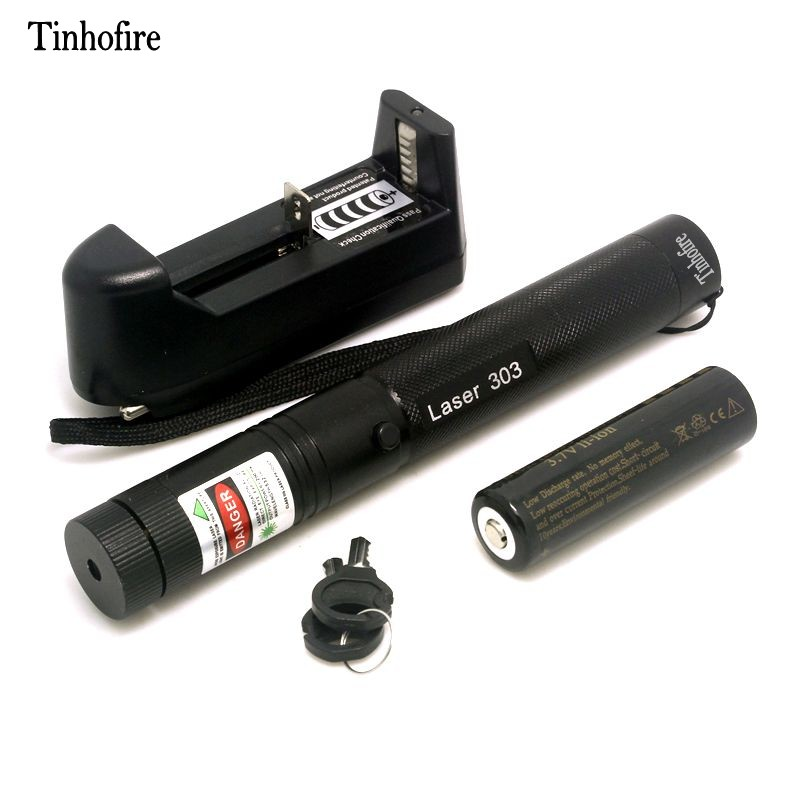Tinhofire Laser 303 5mW Green Laser Pointer Adjustable Focal Length And Star Pattern Filter Laser Flashlight+ Battery+ Charger