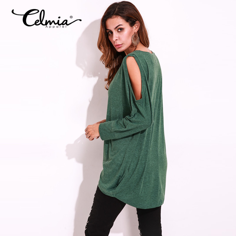 Women long t shirt round neck long sleeve open shoulder for Long sleeve open shirt