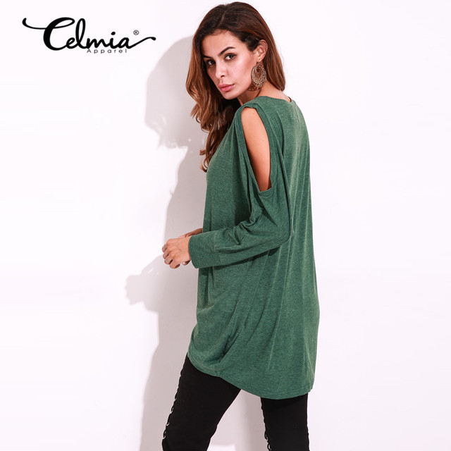 1bcc106e36f Women Long T shirt Round Neck Long Sleeve Open Shoulder Loose Tee Shirts  Sexy Top Solid