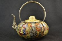 collectible decor handmade porcelain drawing dowager armor miao silver teapot