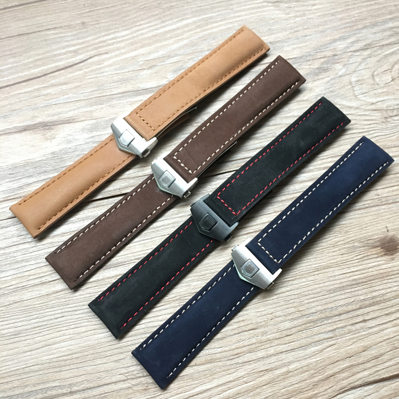 где купить TJP 20mm Mate Genuine Leather Watch Strap Black Brown Blue Watchbands For TAG Carrera Heuer LINK MONACO AQUARACER Wristband по лучшей цене