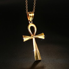 Mystic Egyptian ANKH Cross Charm Pendant Necklace for Woman Golden Stainless Steel Egypt Jewelry Great Gift 20inch