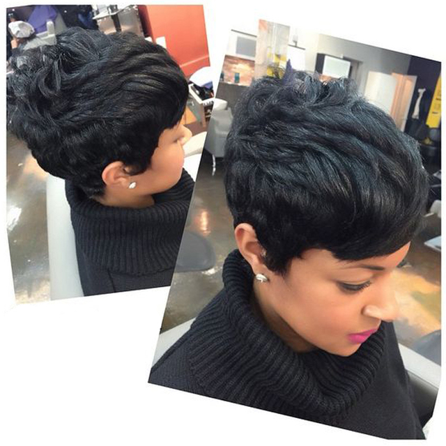 Captivating Short Hairstyle Virgin Short Human Hair 28 Pieces Weave