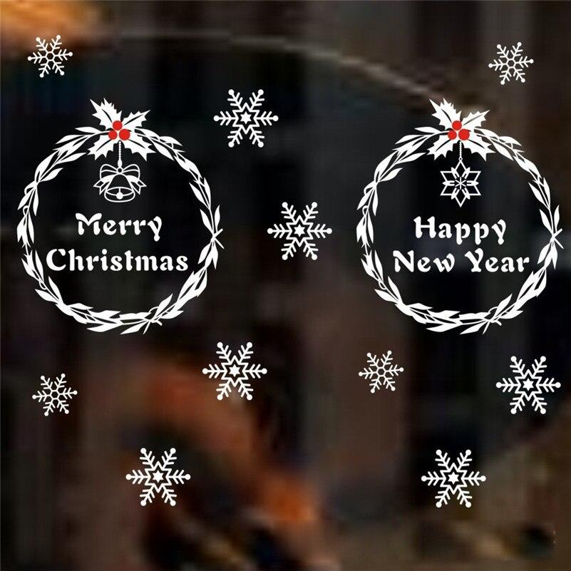 Christmas White Snowflake Alphabet Vinyl wall sticker Decals Window Decor 94*43CM Adesivo De Parede diy Wall Sticker#3467