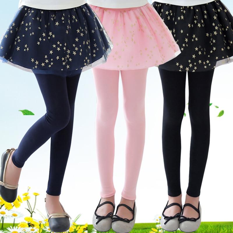 Sequined Stars Girls Legging Skirt-pants Tutu Mesh Golden Star Big Girl Elastic Leggings Children Culottes For 3-12 Years Kids 1