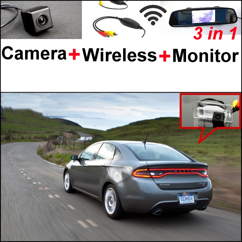 3 in1 Special Rear  View Camera + Wireless Receiver + Mirror Monitor Parking System For FIAT Viaggio For Dodge Dart 2012~2015 wireless pager system 433 92mhz wireless restaurant table buzzer with monitor and watch receiver 3 display 42 call button