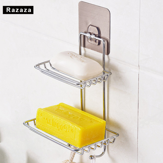 Self Adhesive Stainless Steel Soap Dish Storage Box Holder Bathroom Kitchen Wall  Mount Sponge Draining Hanger