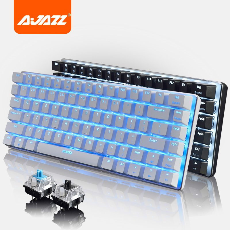 Ajazz AK33 RGB/Three Color/Single Backlight Gaming Mechanical <font><b>Keyboard</b></font> <font><b>82</b></font> Keys Blue/Black Switch Alloy Base USB Wired <font><b>Keyboard</b></font> image