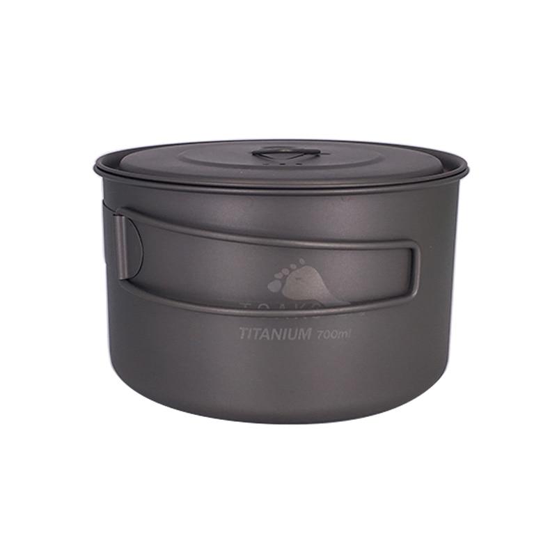TOAKS POT-700-D115-L Ultralight Outdoor Camping Titanium Pot 0.3mm thickness Titanium cup with cover 700ml toaks slv 05 ultralight titanium spoon with matte finish