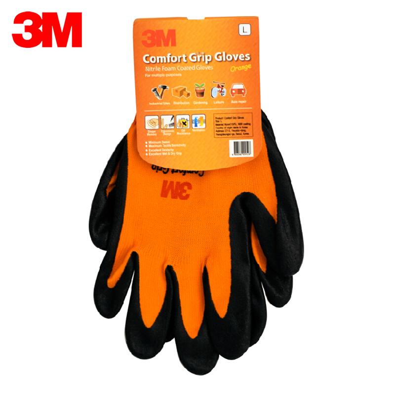 3M Wear-resistant Gloves Anti-skid Comfortable Nitrile Rubber Gloves Size S Working Gloves KM001 cut resistant retardant gloves nitrile rubber spandex lining gloves yellow size l xl top quality gm1140