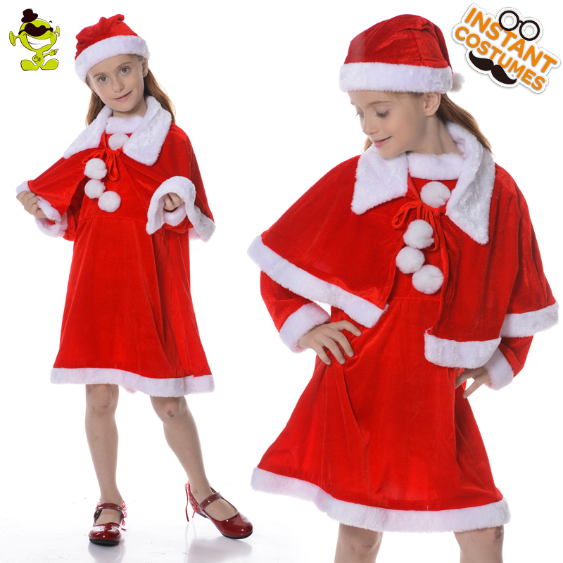 New Arrival Girl's Xmas Dress Costume Cosplay Christmas Party Performance Kids Girl Santa Claus Dress Red Outfit Costume