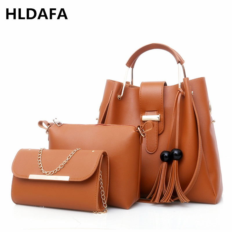 Women 3Pcs Set Handbag PU Leather Shoulder Bags Casual Tote Bag Tassel Metal Handle Designer Business OL Composite Messenger Bag metal ring pu leather tote bag
