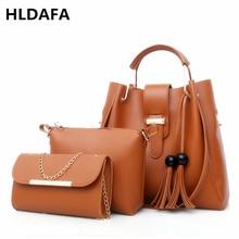 Women 3Pcs Set Handbag PU Leather Shoulder Bags Casual Tote Bag Tassel Metal Handle Designer Business OL Composite Messenger Bag цена и фото