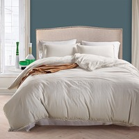 3 Pcs Washed Solid Color Bedding Set Duvet Cover Set Bed Cover Korean Style Fluffies Fringe