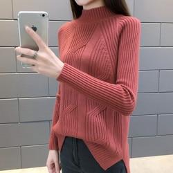 2018 Women Winter Sweater Autumn Half Turtleneck Pullovers Lady Sweaters Basic Female Knit Sweater Long Sleeve Jumper Tops Z19 2