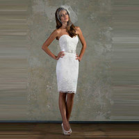 Inexpensive White Sweetheart Lace Crystals Sheath Wedding Party Dress Knee Length Bridal Gown 2016 With Sash