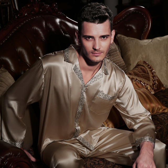 Wholesales Pure Silk Satin Sleepwear Sale Long-Sleeve Men Pyjamas Pajama Sets Pants 100% Natural Silk Pajamas Set YE2118