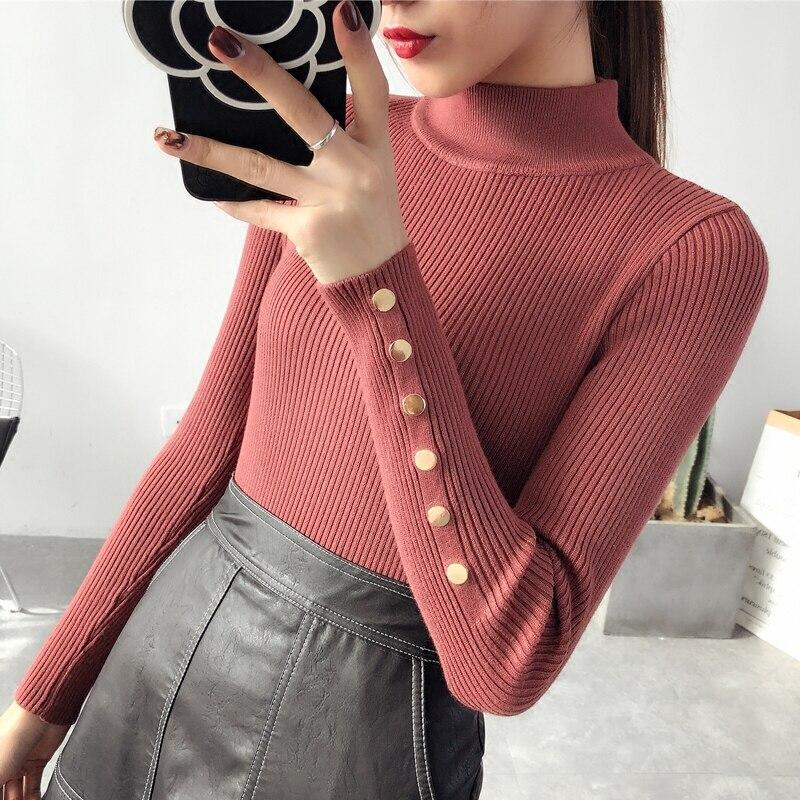 Suéter de OHCLOTH femenino medio cuello bajo grueso 2018 nuevo suéter de invierno Delgado todo-fósforo elástico tejido moda suéteres delgados