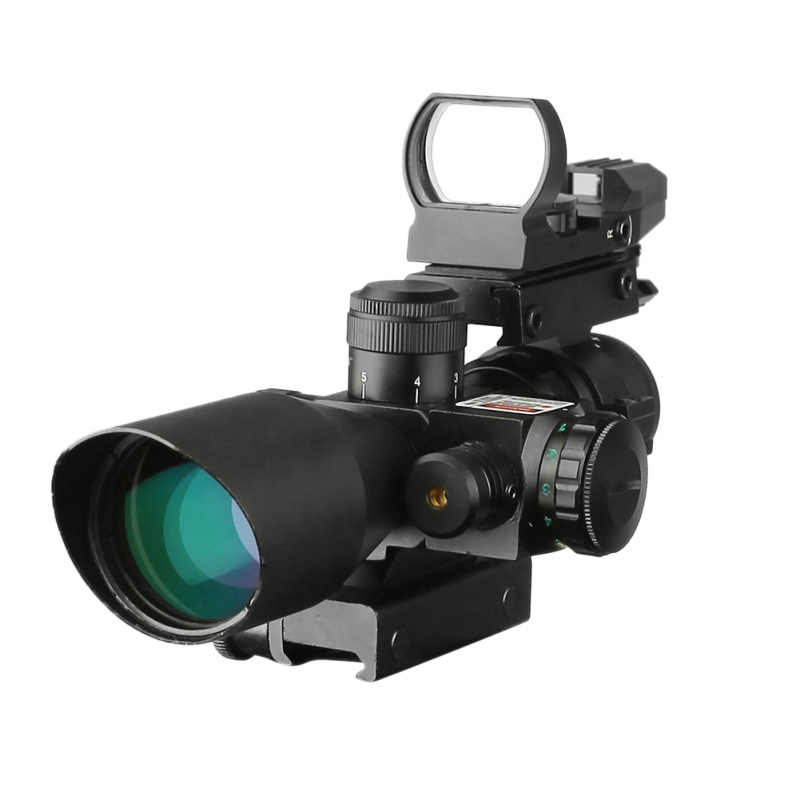 Set 2.5-10X40E / R + HD Tactical 2.5-10x40 Riflescope Green Red Dual Illuminated Rifle scope and Red Dot Laser Sight Hunting H5 hot sale 2 5 10x40 riflescope illuminated tactical riflescope with red laser scope hunting scope page 1