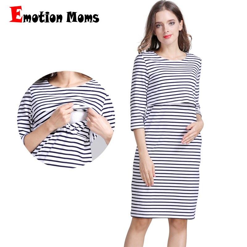 Pregnant Women Maternity Nursing Dress Striped Casual Breastfeeding Dresses
