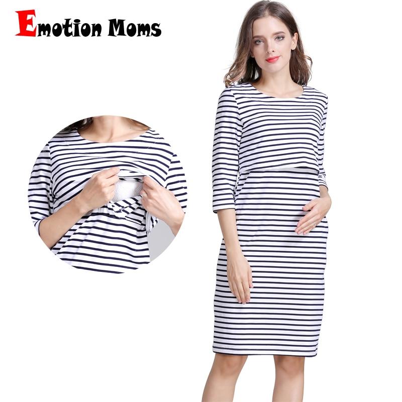 Emotion Moms Bomull Striped Graviditet Nursing Dress för Gravid - Graviditet och moderskap