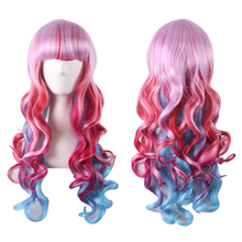 цена на Fashion Sexy Colorful Rainbow Pink Red Blue Ombre Wig Cosplay Costume Lolita Long Wavy Synthetic Hair Woman Wigs With bangs +