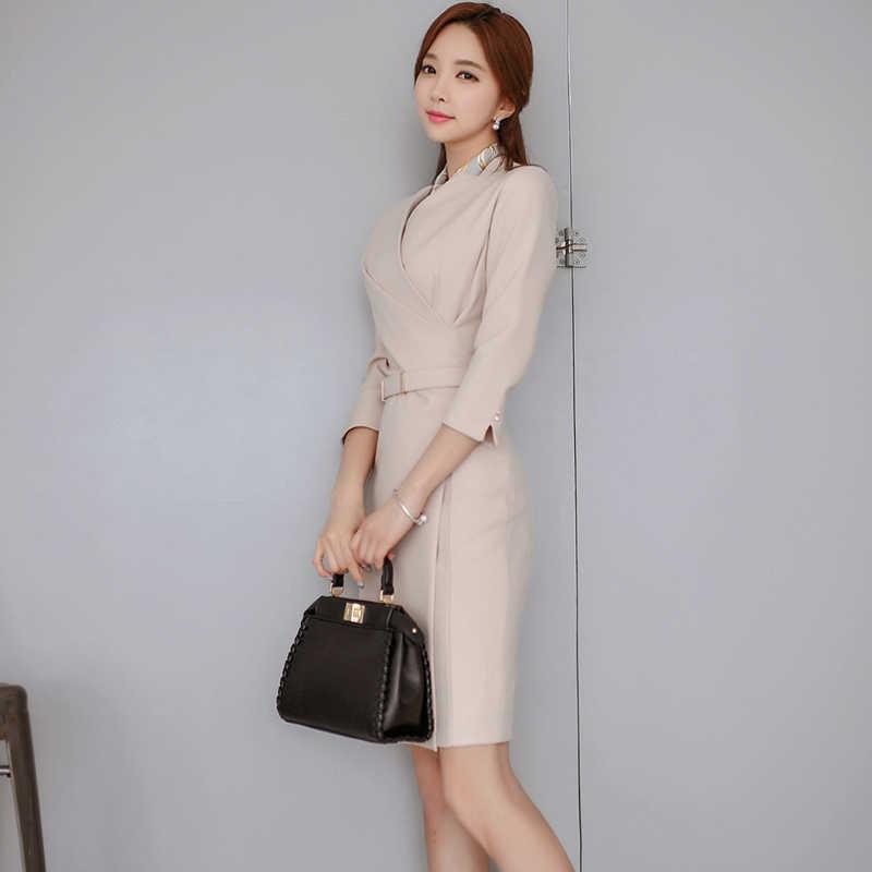 Офисное женское платье-карандаш с v-образным вырезом, деловое женское платье средней длины, женское платье с поясом, тонкая талия, Vestidos, осень 2018
