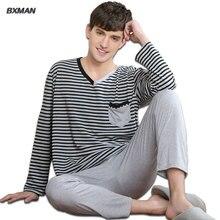 BXMAN Марка мужская Hombre Повседневная Пижама Pijamas Мужчины Полиэстер Полосатый V-образным Вырезом Полный Рукавом Пижамы Устанавливает Лучше для Пар 207