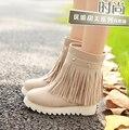 Más el tamaño 34 a 43 mujeres de alta calidad de aumento de la altura botas de plataforma de señora casual beige otoño y botas de invierno botas femininas