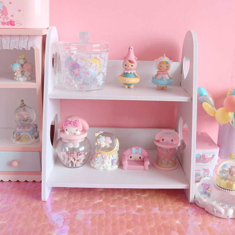 Cute Assembly Desktop Organizers Storage Box Bathroom Wood-Plastic Shelf Cable Storage Makeup Holder Doll House Accessories