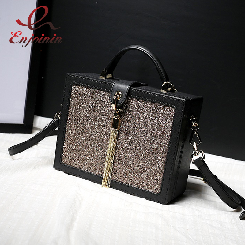 Good quality fashion Genuine Leather blingbling metal tassel ladies handbag box shape bag shoulder bag crossbody messenger bag new punk fashion metal tassel pu leather folding envelope bag clutch bag ladies shoulder bag purse crossbody messenger bag
