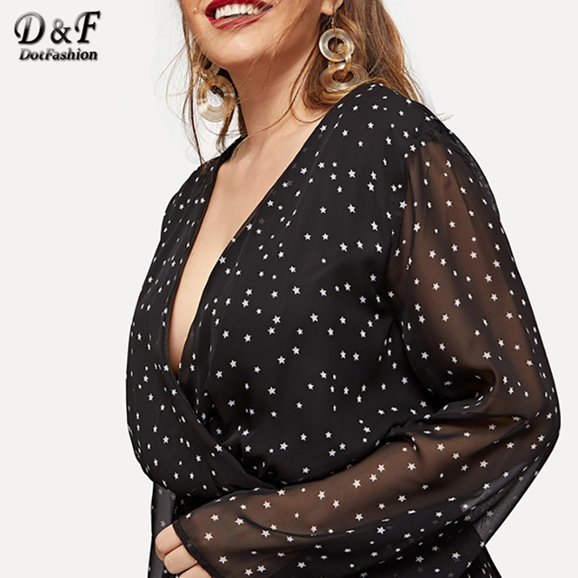 Dotfashion Plus Size Black Surplice Neck Dot Dress Women Autumn 2019 Clothes A Line Casual Spring Knee Length High Waist Dress 5