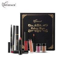 NICEFACE 9pcs Box Shimmer Eyeshadow Matte Lipstick Pen Lip Gloss Eyes Cosmetics Professional Makeup Kit Christmas