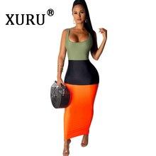 XURU new stitching color slim dress fashion casual nightclub summer