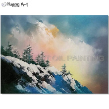 Hand-painted High Quality Modern Snow Mountain Scenery Oil Painting on Canvas Tree Landscape for Living Room Decor