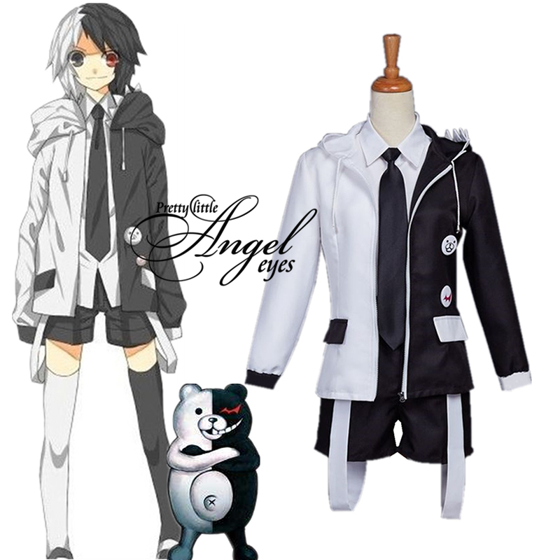 Anime <font><b>Danganronpa</b></font> Monokuma Costume <font><b>Cosplay</b></font> Uniform Halloween Party Full Suit image