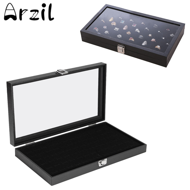 Jewelry Glass Display Case With Glass Lid For Earring 72 Grid