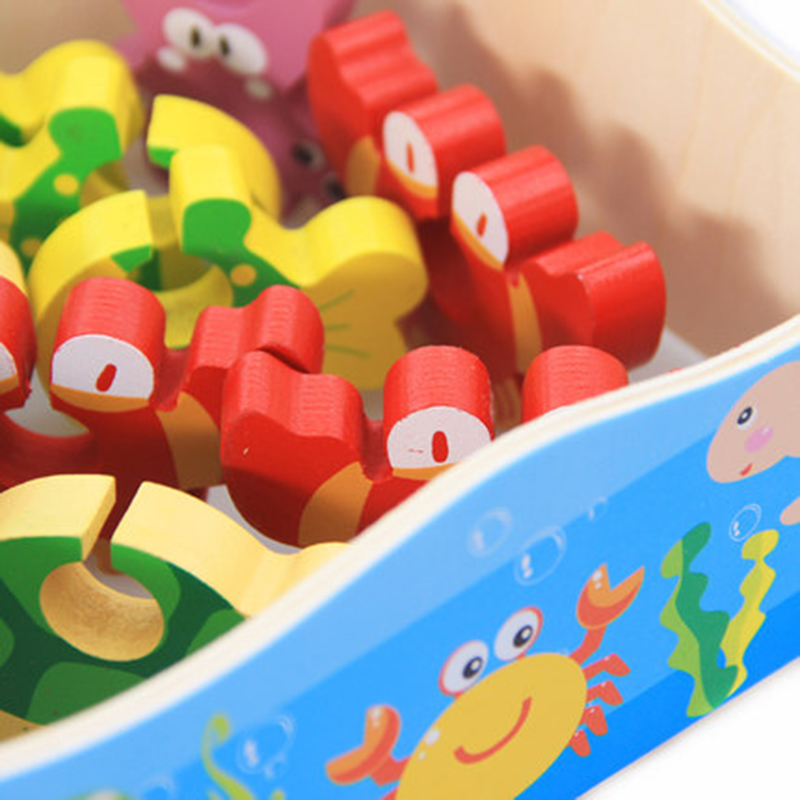 Baby Kid Wooden toys Magnetic Fishing Game 3D Jigsaw Puzzle Toy Interesting Baby Children Educational Puzzles Toy Gift Игрушка