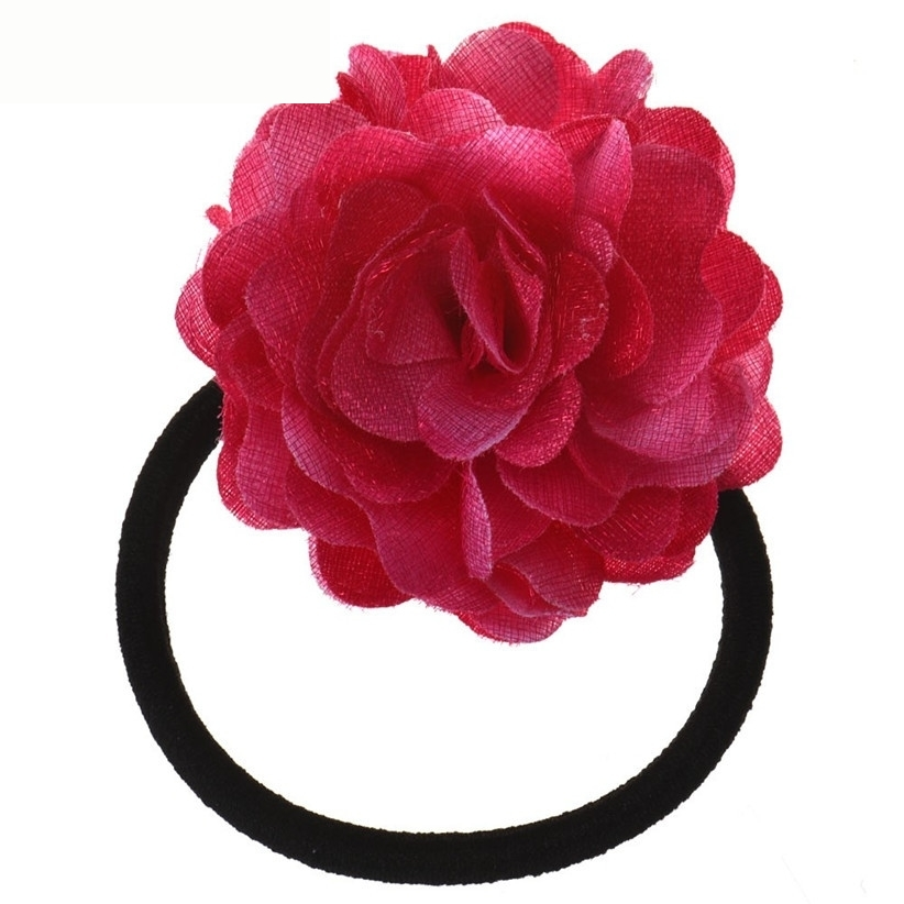Hair Rope Newly Design Big Rose Flower Elastic Hair Bands Accessories Nice Gift July28 Drop Shipping new 10pcs girls merry christmas headband flower hair elastic bands red hair accessories bow animals pattern ropes ties gift