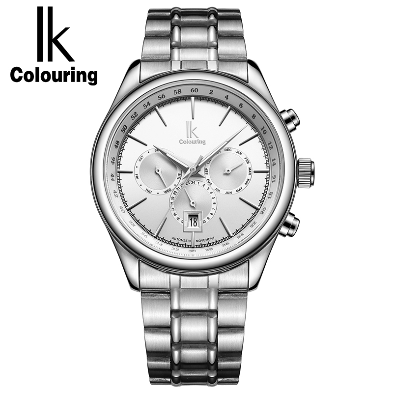 IK Colouring Mechanical Watch Men Calendar Luminous Silver Full Steel Automatic Watches Fashion Casual Men Watch Montre Homme ik colouring men automatic self wind mechanical watches full steel moon phase fashion casual digital sports watch