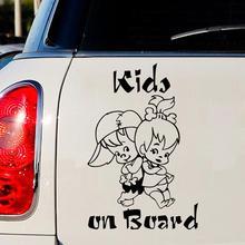 12.5*18CM 귀여운 어린이 보드에 만화 경고 자동차 스티커 창 장식 스티커 비닐 데 칼 자동차 스티커 folie 자동 카로