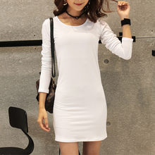 2018 new autumn winter slim casual dress tunic mini dress fashion dresses long sleeve also for kids pullover white(China)