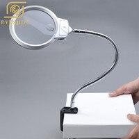 Lamp Magnifier Flexible Neck Magnifying Desk Table Clamp Plastic Folders Metal Horse 2X 5X 130mm Lens Loupe Repaire Magnifier