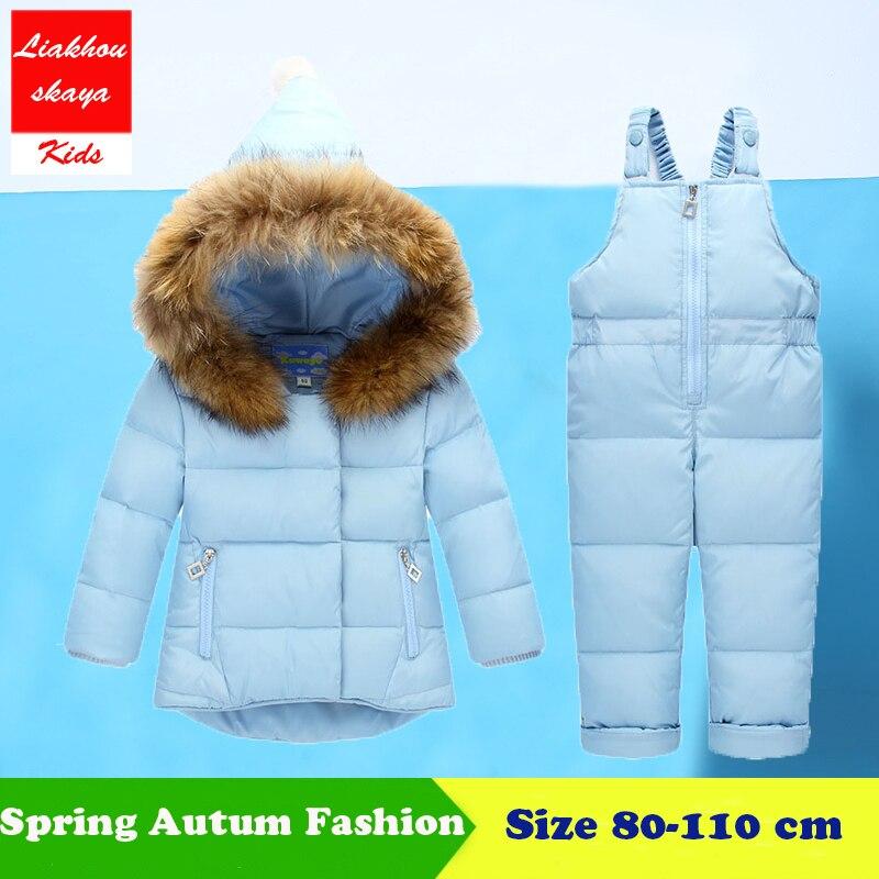 2018 Kinder Kleidung Herbst Winter Unten Jacken Für Mädchen Cartoon Dots Warm Mäntel Schneeanzüge Kinder Oberbekleidung Overalls Overalls