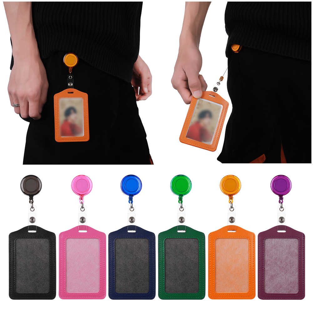 No Zipper Protective Shell Bank Credit Card Holders Bus ID Worker Holders Identity Red Yellow Blue Badge with Retractable Reel