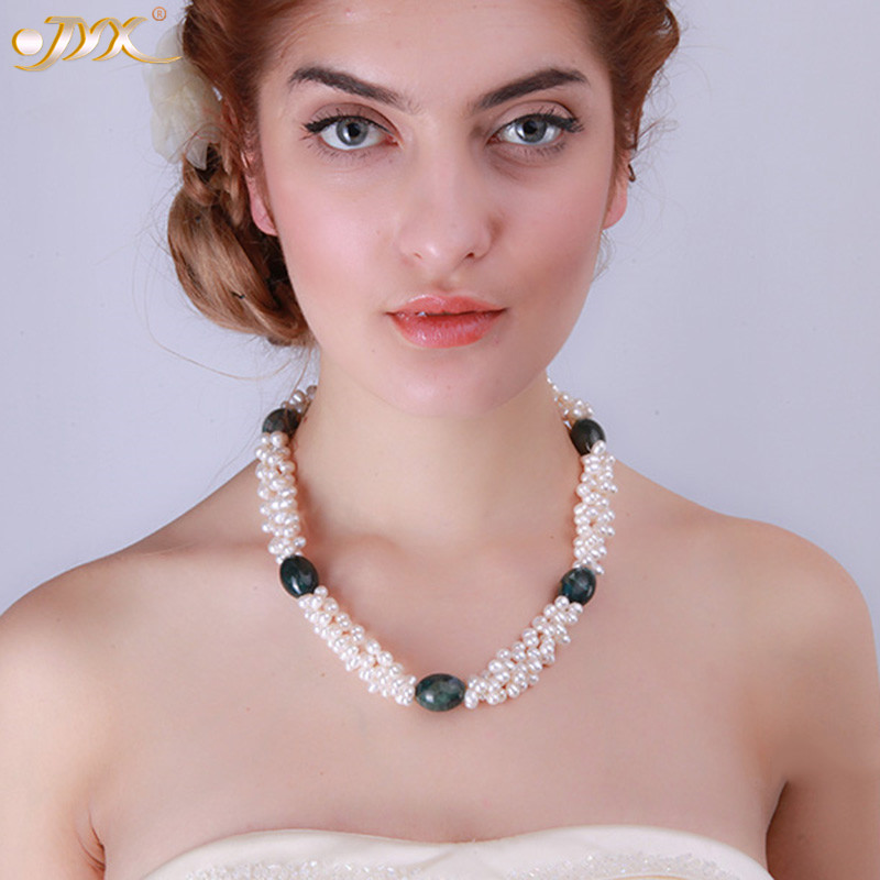 "JYX Classic pearl necklace three strands 5-6mm natural white freshwater pearl and dark-green agate choker 20"" women"