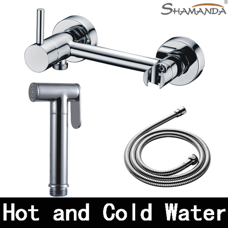 Free Shipping Solid Brass Chrome Handheld Bidet ,Toilet Portable Bidet Shower Set With Hot and Cold Water Bidet Mixer Tap-22654 hpb hot and cold water brass bathroom toilet portable spray with shower holder handheld bidet grifo ducha bidet faucet hp7008