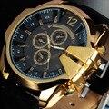 V6 Homens Relógio de Luxo Elegante Coroa de Ouro Mostrador Grande Pulseira de Couro Relógio De Quartzo Do Vintage Caso Vestido Do Esporte Relógio Relogio masculino