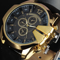 V6 Luxury Watch Men Stylish Golden Crown Large Dial Leather Band Quartz Watch Vintage Dress Sport Clock Case Relogio Masculino