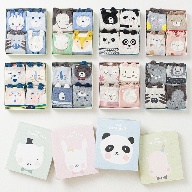 4 Pairs 3d Animal Pattern Cotton Socks with Gift Box